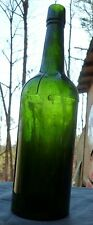 GERMAN BITTERS BOTTLE-Large Forest Green Cylinder-3 Piece Mold-Leipzig-1890s
