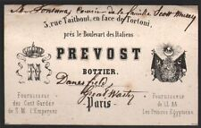 Carte adresse. Maison Prevost, Bottier. Vers 1860