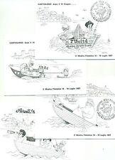LA VELA ATTRAVERSO I SECOLI MOSTRA FILATELICA 1987 Set 4 cartoline Ill. Gianelli
