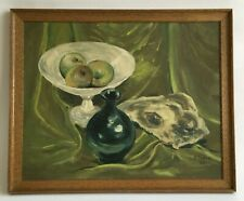 Pat Toews 'Still Life in Green' Original Oil Painting 1959 Signed