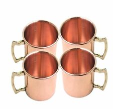 2 Oz Solid Copper Classic Moscow Mule Shot Mugs Pack of 4 Brass Handle