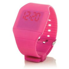 Digital Silikon LED Armband Uhr Armbanduhr Watch Herren Damen Kinder Sport Pink