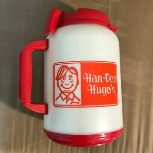 Vintage Han-Dee Hugo's Thermos Jug Large Red White Whirley Warren PA USA