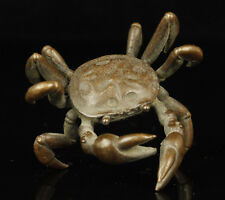 China Collectible Handwork Carving Bronze Lifelike Crab Statues