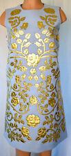 DOLCE & GABBANA Gold Leather Fower Applique Back Zipper Jewel Button Dress Sz 46