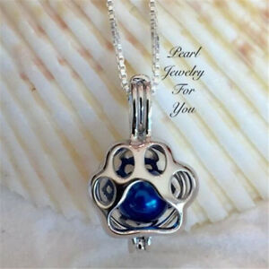 Fashion Cat Dog Paw Print Pearl Necklace Love Wishes Oyster Pearl Necklace