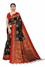 Women's Mysore Silk Printed Saree Border Tassels With Blouse Piece Black Color