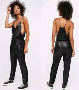 Free People Black Sequined Pantsuit Jumpsuit Sz S NWT
