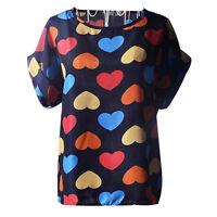 Women Ladies Chiffon Blouse Sheer Tops Casual Batwing Short Sleeve Loose T-Shirt