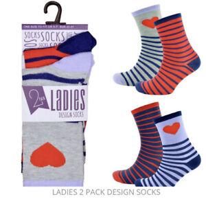 Novelty Ladies 2 Pack Socks Heart Line Design Brilliant Birthday Valentines Gift