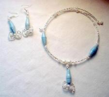 Bead Faux Pearl Choker Necklace & Earrings 2 Pc Jewelry Set Blue Recycled Paper