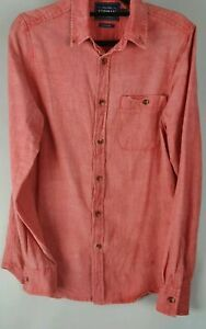 Topman Red Chambray Casual Long Sleeve Shirt Sz S