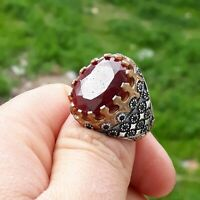 Authentic 100% Natural Madagascar Ruby Turkish 925 Sterling Silver Men's Ring