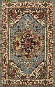 Tribal Heriz Serapi Rug, 5'x8', Light Blue/Ivory, Hand-Knotted Wool Pile