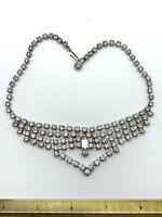 Vintage Rhinestone Choker Necklace Prong Set Rhodium Plate Bridal Runway B6