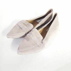 Steve Madden Womens Jainna Loafer Flat Shoes Lavender Gray Leather Suede 6.5 M