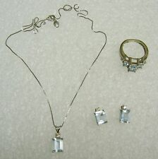 14K WHITE GOLD AQUAMARINE/DIAMOND RING EARRINGS PENDANT NECKLACE SET HVD-16