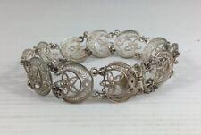 """Vintage Solid """"800"""" Silver Filigree Crescent Moon & Star Bracelet 17cm In Length"""