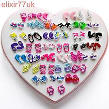 NEW SET 36 PAIRS KIDS STUD CRYSTAL EARRINGS KITTY FLOWER CAT GIRL CHILDREN PARTY