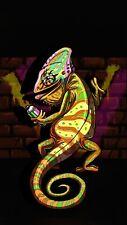 Cartoon Graffiti Lizard - Spray Paint Colours Wall Art Poster & Canvas Pictures