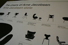 The Chairs Of Arne Jacobsen Print poster Scandinavian Danish design eames retro