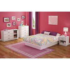 White 4 Piece Full Platform Bed Set Home Living Bedroom Dorm Storage Dresser