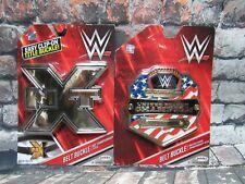 Lot of 2 WWE NXT & US Championship Title Belt Buckle Jakks NIP Wrestlemania