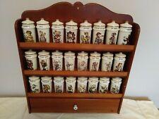 Vintage Hummel Porcelain Spice Jar Collection 24 jars/lids and Wood Display Rack