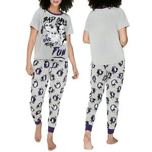 """Official DISNEY """"BAD GIRLS"""" Ladies 2 Piece Witches Maleficent Ursula Pjs Set NEW"""