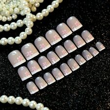 Flower False Nails Beige Shiny Nail Art Tips Gradient White French Nails Z239