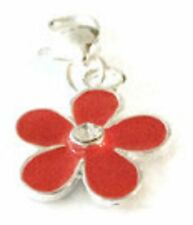 A RED & SILVER FLOWER WITH A RHINESTONE  CENTRE  CLIP ON CHARM - SILVER PLATE