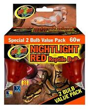 Zoo Med Nightlight Red Reptile Bulb 60W (2 Pack)- Reptile Nocturnal