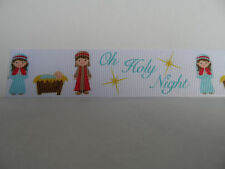 """Grosgrain Ribbon, Oh Holy Night Nativity Scene Baby Jesus in Manger Christmas 1"""""""