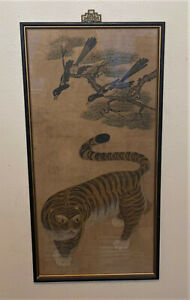 Antique Framed Original Korean Tiger & Magpie Minhwa Painting on Paper