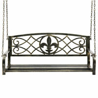 Outdoor Hanging Slat Metal Patio Porch Swing Chair Bronze Color Antique Style