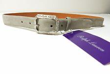 Ralph Lauren  Purple Label Crystal Jewel Frame  Suede Leather Belt Gray Size S