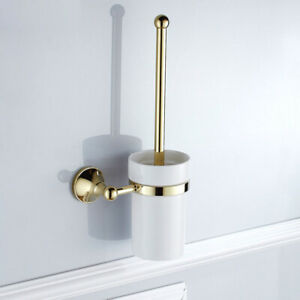 Gold Color Brass Toilet Brush and Holder Set Bathroom Cleaning Accessories