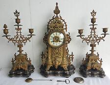 GARNITURE Pendule XIXe MASQUELIER Manessiez Style LOUIS XV XVI Metal Dore Clock