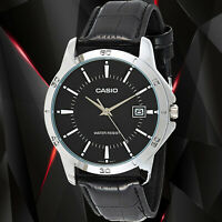 Casio MTP-V004L-1A Mens Analog Watch Leather Band Silver Black Date Display New