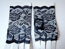 BLACK LACE FINGERLESS GLOVES gothic lolita basic great for layering w cuffs Y5