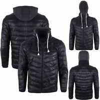 Mens Hooded Hoodies Quilted Padded Bubble Puffer Pockets Zipper Up Coat Jacket