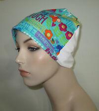 Happy Words  Flannel Sleep/Cap, Cancer Hat, Chemo Hat Women & Children