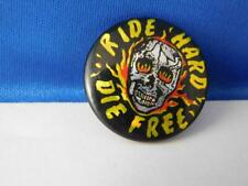 Ride Hard Die Free Vintage Hat Vest Button Skull Biker Motorcycle
