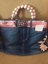 Denim purse bag, Lots of Bling, Embroidered Pink Sequin flower, Blue Jean Purse