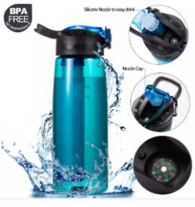 Water Filter Bottle Straw Purifier, Emergency Outdoor Survival, Hiking