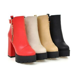 Womens Ankle Boots Faux Leather Platform High Block Heels Zip Punk Booties Shoes