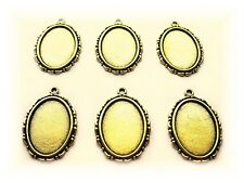 6 Antiqued Goldtone Nicole style 25mm x 18mm Cameo craft Pendant Frame Settings