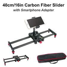 16in Carbon Fiber Camera Slider Track Tripod Mount with Bag & Metal Phone Holder