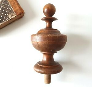 Antique wooden post finial French turned wood topper Bed Grandfather clock 4.96