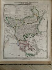 1854 TURKEY IN EUROPE BALKANS GREECE HAND COLOURED ANTIQUE MAP BY CARL FLEMMING